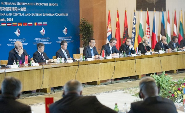 Chinese Premier Li Keqiang (4th L) attends the third China-Central and Eastern European (CEE) Leaders
