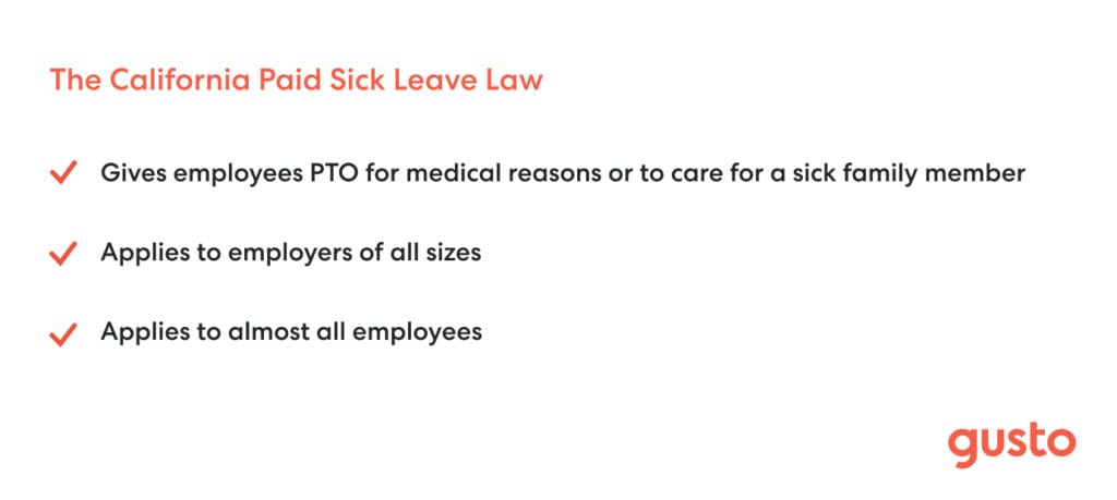 Paid sick leave law California